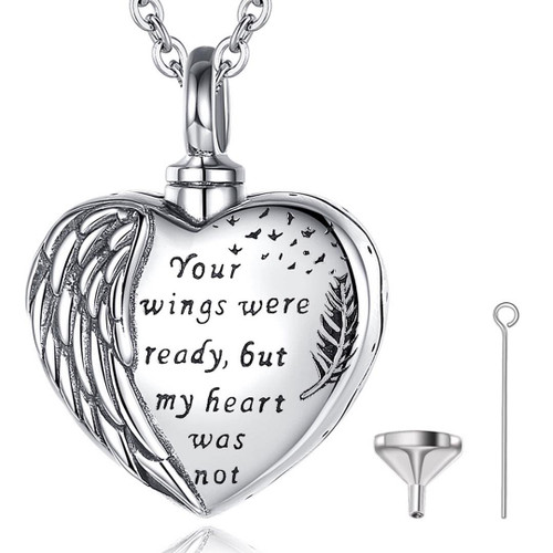 Your wings were ready but my heart was not Sterling Silver Heart Urn Necklace