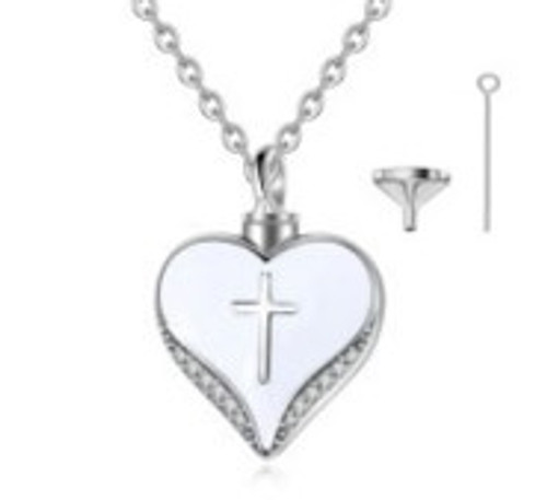 Sterling Silver Cross Heart Urn Necklace with Forever in my heart