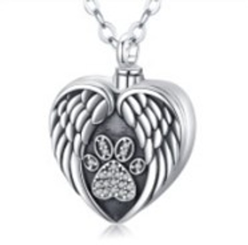 Sterling Silver Angel Wing Paw Print Urn Necklace