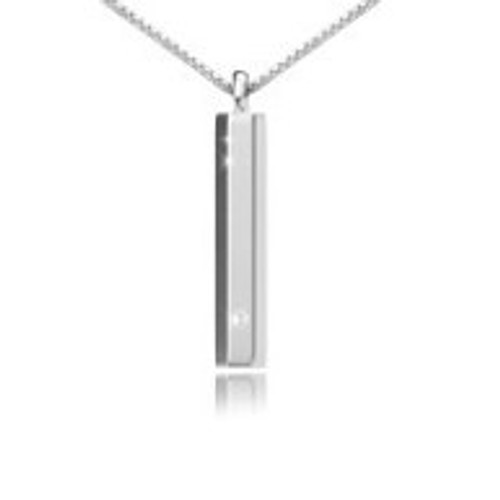 Sterling Silver Long Rectangle Urn Necklace