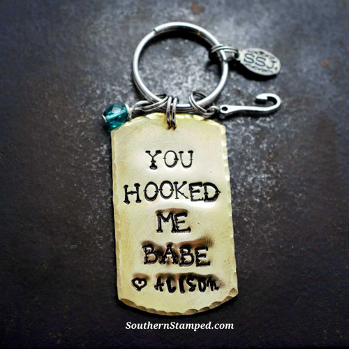 you hooked me babe brass dog tag key chain with birthstone bead and hook charm
