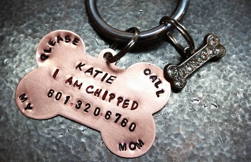 I Am Chipped Copper Pet Tag