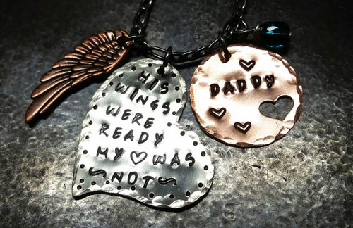 His Wings Were Ready Large Silver Funky Heart w/ Copper Circle Cut Out Heart