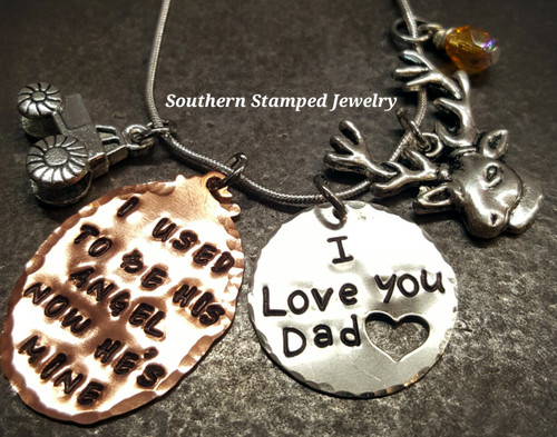 I Used To Be His Angel Copper Oval w/ Silver Circle w/ Cut Out Heart