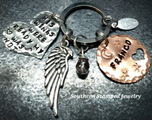 His Wings Were Ready Silver Heart w/ Copper Circle w/ Cut Out Heart Key Chain