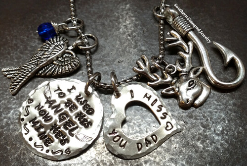 I Used To Be His Angel Silver Circle w/ Silver Open Heart Rear View