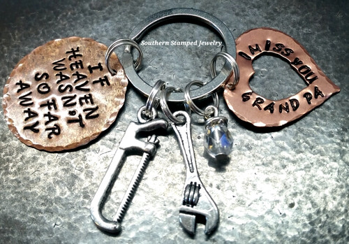 If Heaven Wasn't So Far Away Copper Circle w/ Copper Open Heart Key Chain