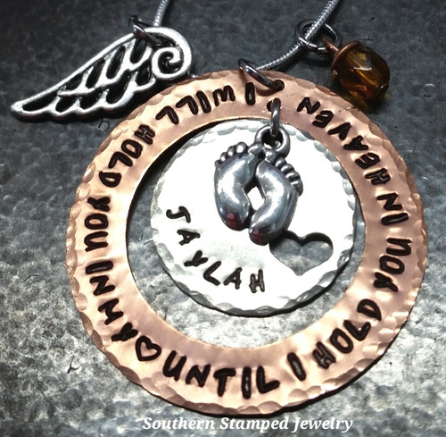 I Will HoldI Will Hold You Copper Washer w/ Silver Circle w/ Cut Out Heart