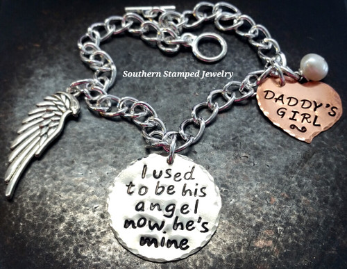 I Used To Be His Angel Silver Circle w/ Copper Solid Heart