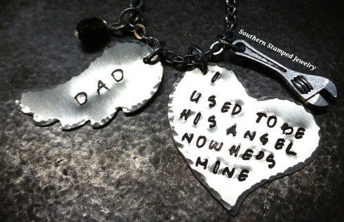 I Used To Be His Angel Silver Heart w/ Small Silver Wing Rear View Mirror Charm