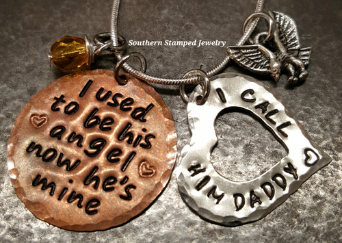 I Used To Be His Angel Copper Circle w/ Silver Open Heart