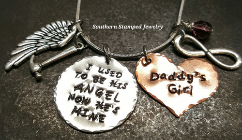 I Used To Be His Angel Silver Circle w/ Solid Copper Heart
