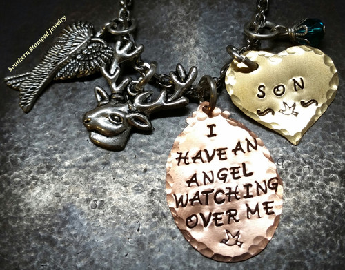 I Have An Angel Copper Oval w/ Solid Brass Heart Rear View