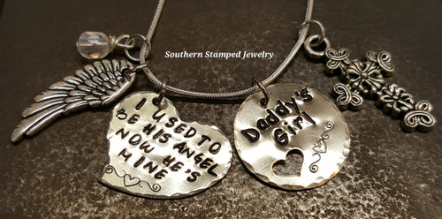 i used to be his angel silver funky heart necklace with silver circle cut out heart, one charm and one birthstone bead