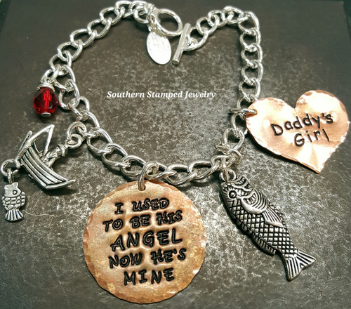 I Used To Be His Angel Copper Circle w/ Solid Copper Heart Bracelet