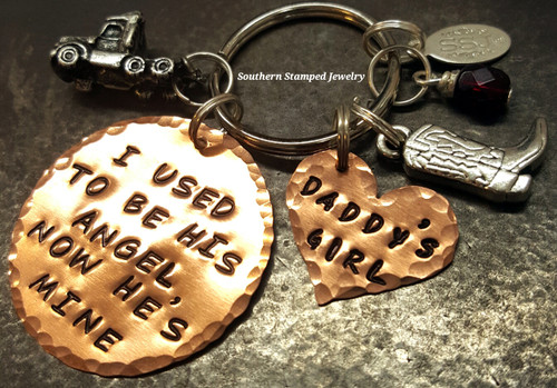 I Used To Be His Angel Large Copper Circle w/ Solid Copper Heart Key Chain