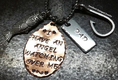 I Have An Angel Copper Oval w/ Stainless Steel Tag Rear View