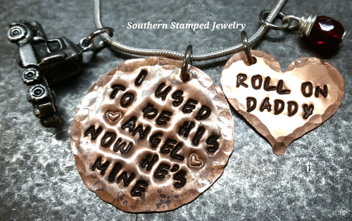 I Used To Be His Angel Copper Circle w/ Solid Copper Heart Roll On Daddy