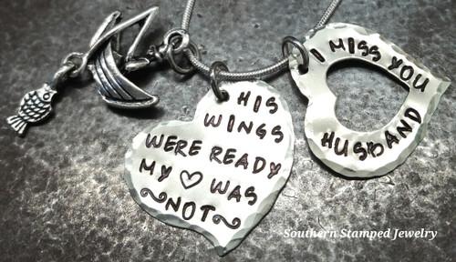 His Wings Were Ready Silver Heart w/ Silver Open Heart