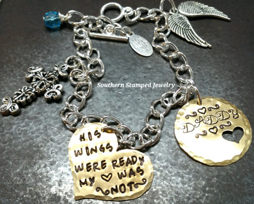 His Wings Were Ready Brass Heart w/ Brass Circle Cut Out Heart Bracelet