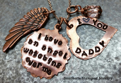 I Have An Angel Fancy Copper Circle w/ Copper Open Heart