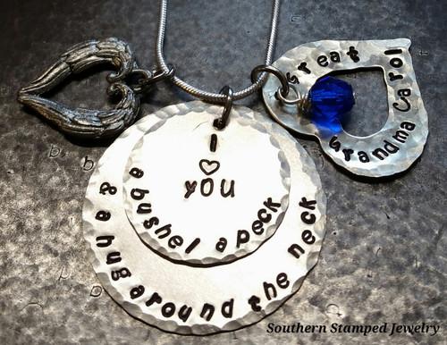I Love You A Bushel & A Peck 2 Layer w/ Silver Open Heart