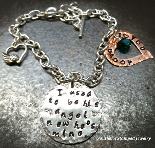 I Used To Be His Angel Silver Circle w/ Copper Open Heart