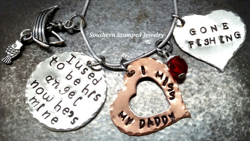 """I Used To Be His Angel Silver Circle w/ Silver Solid """"Gone Fishing"""" Heart and Open Copper Heart"""