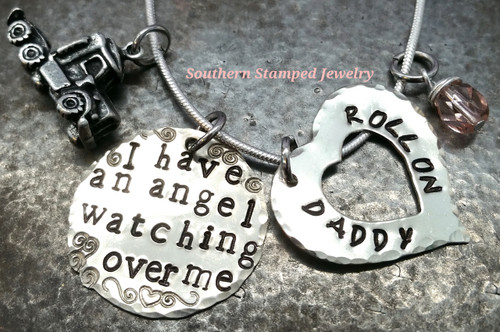 I Have An Angel Silver Circle w/ Silver Open Heart Roll On Daddy