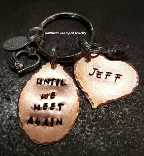Until We Meet Again Copper Oval w/ Solid Copper Heart Key Chain