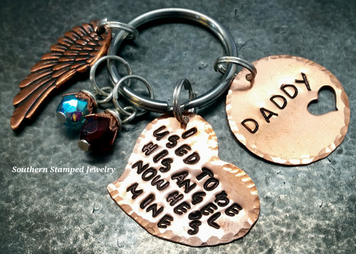 I Used To Be His Angel Copper Funky Heart w/ Copper Circle Cut Out Heart Key Chain