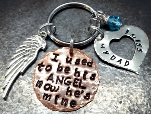 I Used To Be His Angel Copper Circle w/ Silver Open Heart Key Chain