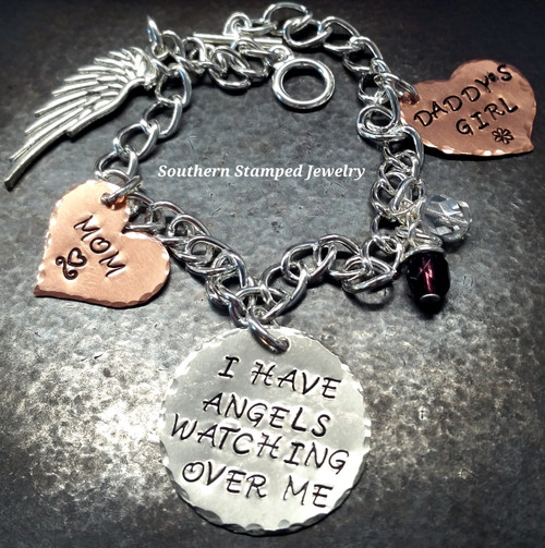 I Have Angels Silver Circle w/ 2 Solid Copper Hearts
