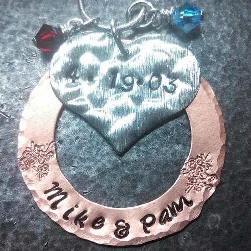 Silver Heart w/ Copper Washer and 2 Birth Stones