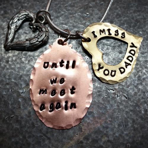 Until We Meet Again Copper Oval w/ Brass Open Heart