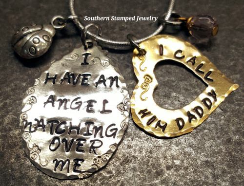 I Have An Angel Silver Oval w/ Brass Open Heart
