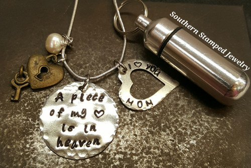 A Piece Of My Heart Pewter Circle w/ Silver Open Heart and Urn