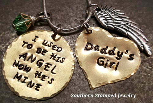 I Used To Be His Angel Brass Circle w/ Brass Solid Heart