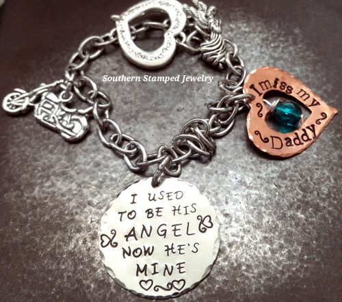 I Used To Be His Angel Silver Circle w/ Copper Open Heart Stainless Steel Bracelet
