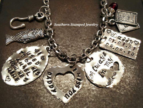 I Used To Be His Angel Silver Oval w/ Silver Open Heart, Silver Tag, and Silver Circle Cut Out Heart Rear View