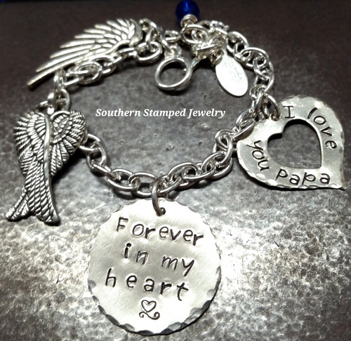 Forever In My Heart Silver Circle w/ Silver Open Heart