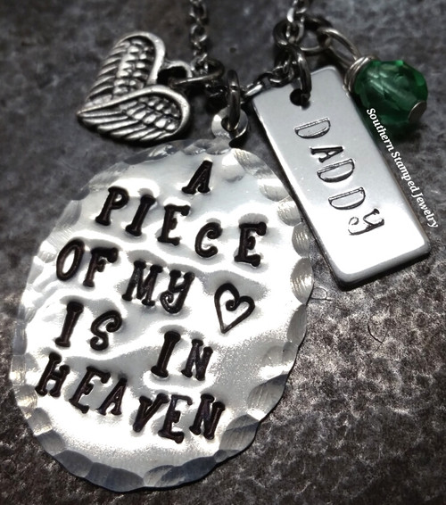 A Piece Of My Heart Pewter Oval w/ Pewter Tag (hypo-allergenic)