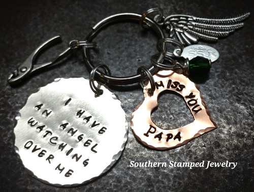 I Have An Angel Large Silver Circle w/ Copper Open Heart Key Chain