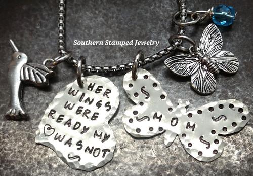 Her Wings Were Ready Silver Funky Heart w/ Silver Butterfly