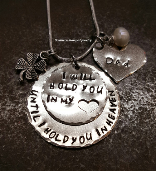 i will hold you in my heart until i hold you in heaven two layer silver circles with silver heart