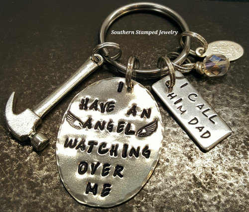 I Have An Angel Pewter Oval w/ Stainless Steel Tag Key Chain