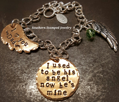I Used To Be His Angel Bronze Circle w/ Bronze Wing Bracelet