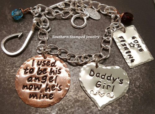 I Used To Be His Angel Copper Circle w/ Solid Silver Heart and Gone Fishing Silver Tag