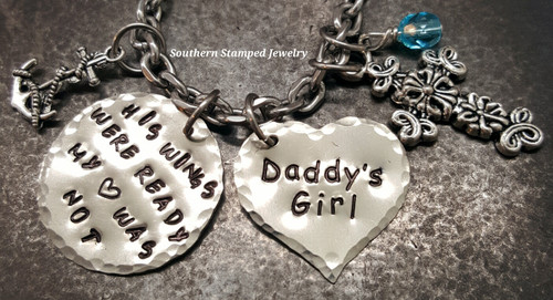 His Wings Were Ready Silver Circle w/ Solid Silver Heart Rear View