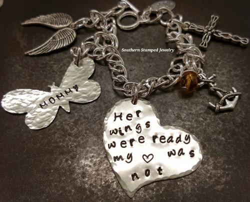 Her Wings Were Ready Silver Heart w/ Silver Butterfly Bracelet
